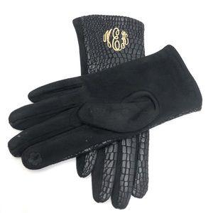 Custom Monogrammed Snake Print Smart Touch Gloves